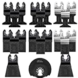 Preciva Oscillating Saw Blades, 21 × Fast Fit Mixed Blades Oscillating Saw Blade Kit, Universal Multi Oscillating Tool <span class='highlight'>Accessories</span> Kit for Wood and Metal Cutting Quick Release (Black)