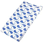 Khy's Changing Pad Cover for Baby Boys Girls, Plush Soft & Stretchy, Stain Resistant, Ocean Blue Whales Design