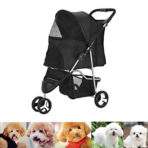 XIAOLONG Panana Hundewagen mit 3-Rad-Buggy für Hunde und Katzen Pet Roadster 70x45x99 cm -schwarz