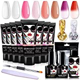 Morovan Poly Nail Gel Kit - 6 Nude Colors Nail Builder Extension Gel Trial Kit with 2 Temperature Color Changing Gel for Beginner Nail Art and Professional All-in-One French Kit