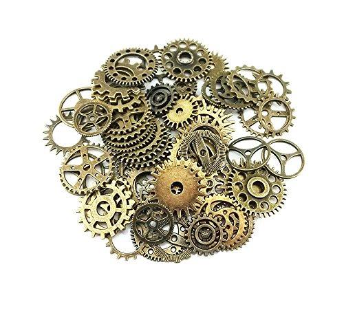 Surtido de abalorios para colgantes con diseño de engranajes de ruedas de reloj antiguos de estilo retro steampunk, 100 g, para manualidades DIY, accesorios para hacer joyas