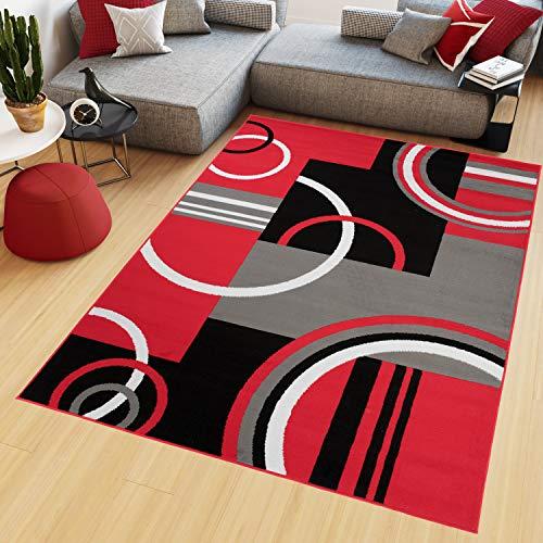 TAPISO Maya Tappeto Salotto Moderno Soggiorno Rosso Geometrico Astratto A Pelo Corto 80 x 150 cm