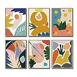 iMagitek Set of 6 Unframed Colorful Modern Abstract Minimalist Retro Pop Wall Art Poster (8' x 10')