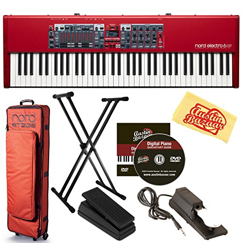 Best Bargain Nord Electro 6D 61-Key Stage Piano Bundle with Soft Case, Adjustable Stand, Expression Pedal, Sustain Pedal, Austin Bazaar Instructional DVD, and Polishing Cloth