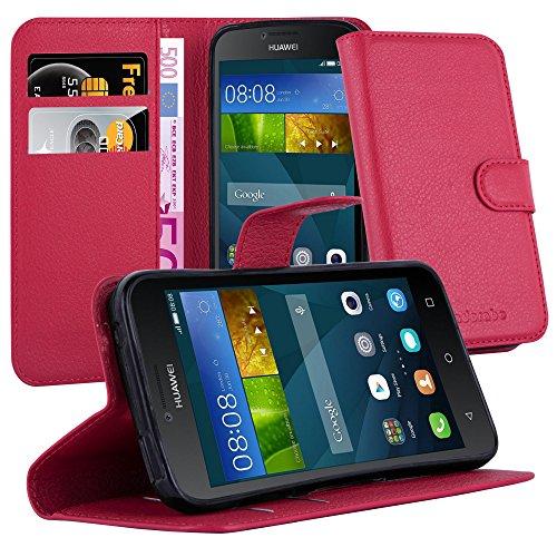 Cadorabo Hülle für Huawei Y5 2015 / Y5C / Y541 / Y540 / Y520 in Karmin ROT - Handyhülle mit Magnetverschluss, Standfunktion & Kartenfach - Hülle Cover Schutzhülle Etui Tasche Book Klapp Style