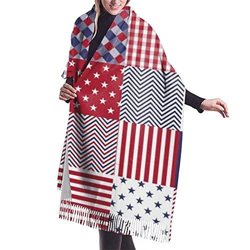 Usa Americana Patchwork Rojo Blanco y Azul Edredón Clásico Cachemira Sensación Suave Invierno Bufanda, cálida Manta Grande Elegante Abrigo Chal Flecos Bufandas Para Hombres Mujeres