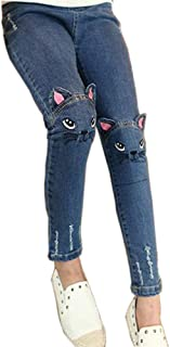 dc4d3322f CosSky Kids Little Big Girls Denim Cartoon Cute Printed Jeans Embroidered  Pants