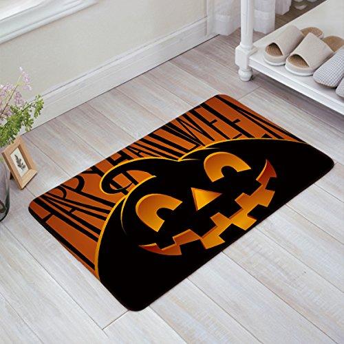 "BULING Custom Door Mat Halloween Theme Evil Pumpkin Pattern Indoor Non-slip Rubber Entrance Rugs for Bathroom 31.5""(L) x 20""(W) Inch"