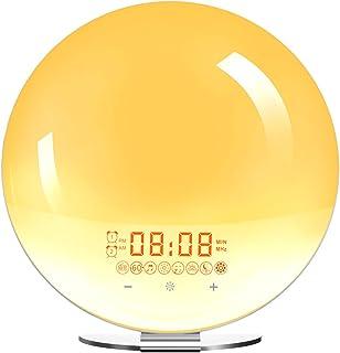 Wake Up Light Solnedgångslampa Väckarklockor Simulering Nattljus med FM -radio, Snooze -funktion och atmosfärslampa, Natur...