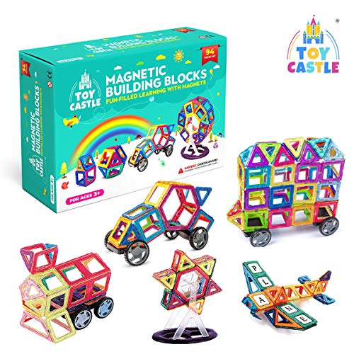 TOY CASTLE Magnetic Building Blocks for Kids ( 94 Pieces) Building Set with Wheels Construction Games- Creativity Educational STEM Toys Boys toys for 5 year old boys and kids toys age 4