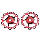 Paquete de 2roldanas de cambio trasero 11T de Fomtor, de aluminio color rojo, para Shimano SRAM
