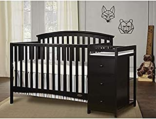 Dream On Me Niko 5-in-1 Convertible Crib with Changer, Black with Two Sided Contour Changing Pad, White and Spring Crib and Toddler Bed Mattress, Twilight