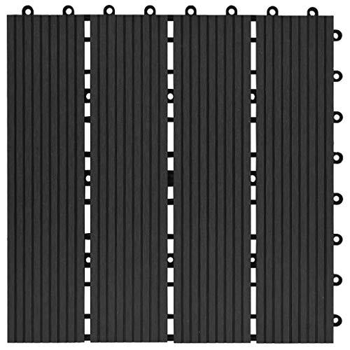 Tidyard 11 Unidades Suelo Exterior de WPC,Baldosas Terraza Exterior para Porche Patios Balcones Baños Piscina o SPA,Resistentes al Agua,30x30cm 1m² Negro