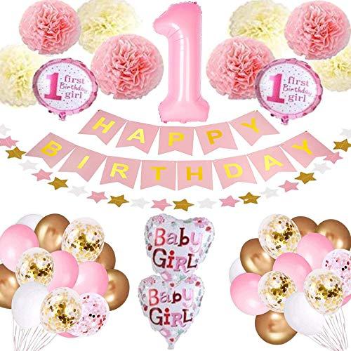 Bellatoi Birthday Decoration Birthday Balloon, 1st Birthday Decoration Set for Girls, Happy Birthday Garland Balloons Banner, Pompoms Flowers, Confetti Balloons, Latex Balloons