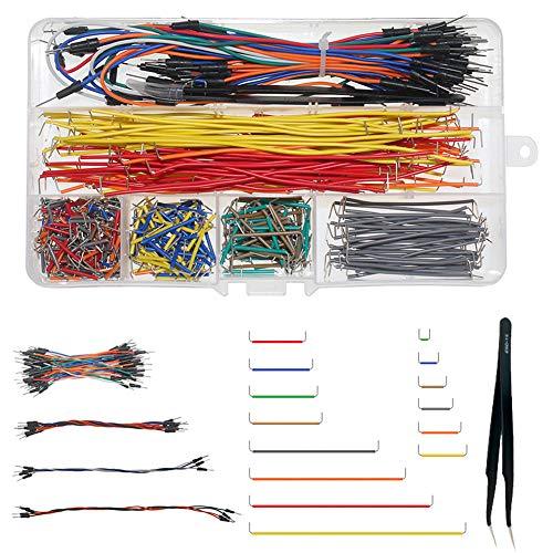 WayinTop Breadboard Steckbrücken Drahtbrücken Jumper Wires Set, U-Form Breadboard Jumper Drähte mit 14 Verschiedene Längen + Flexible Breadboard Jumperkabel M/M + Pinzett für Arduino für Raspberry Pi