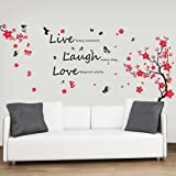 – Adesivi da parete con fiori e farfalle citazione'Live Laugh Love decorazione murale Art Home DIY Living camera da letto ufficio Décor Wallpaper Kids Room Gift, multicolore