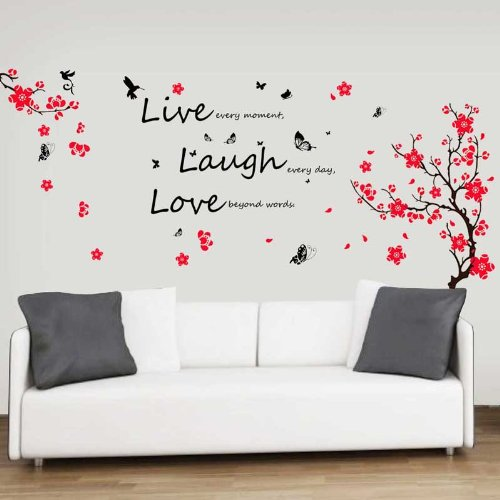 Walplus Wall Stickers Flower Blossom Butterflies Quote 'Live Laugh Love' Mural Art Home Decoration DIY Living Bedroom Office Décor Wallpaper Kids Room Gift, Multi-colour