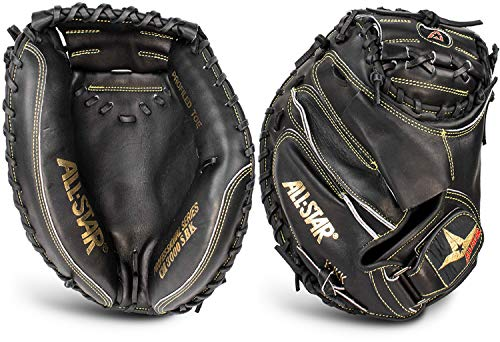 All Star Pro Elite Catchers Baseball Gloves Closed Black 35 Inch Right Hand