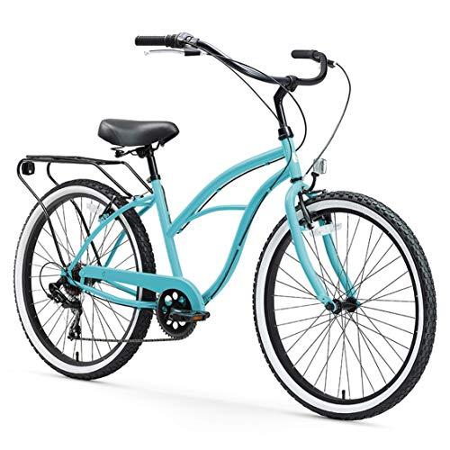 "sixthreezero Around The Block Women's 7-Speed Beach Cruiser Bicycle, 24"" Wheels, Teal Blue w/Black/Seat/Grips, 14""/One Size"