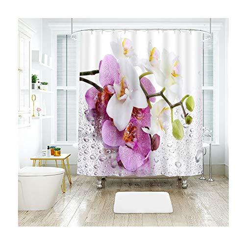 AnazoZ douchegordijn, badgordijn, bloem, waterdicht, anti-schimmel, incl. 12 gordijnhaken voor badkamer, woonaccessoires, set badkuip