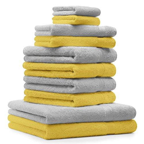 Betz Juego de 10 Toallas Classic 100% algodón 2 Toallas de baño 4 Toallas de Lavabo 2 Toallas de tocador 2 Toallas faciales Amarillo y Gris Plata