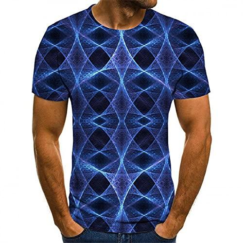 Shirt Uomo Estate Girocollo Creativo 3D Uomo T Shirt personalità Moda Stampa Manica Corta Uomo Casual Shirt Basic Traspirante Uomo Shirt Senza Colletto X-004 M