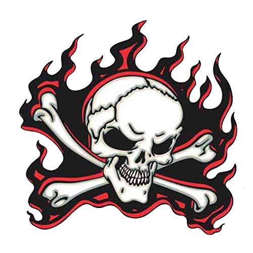 ZQZL Etiqueta engomada del Coche Horror Rojo Llama cráneo Accesorios Personalidad calcomanía Personalidad Impermeable Vinilo 13 cm * 13 cm