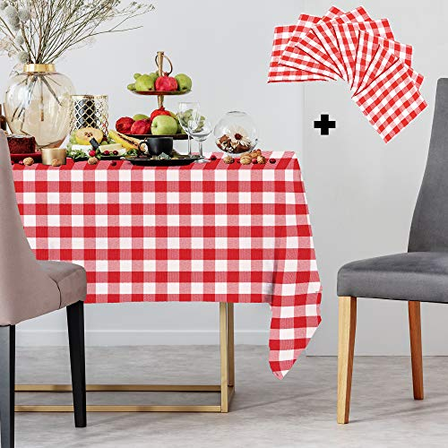 Savannah Ray 60x84 Buffalo Check Plaid Tablecloth with 8 Free Matching Cloth Napkins | Superior Fabric to 100% Cotton | Red and White Buffalo Plaid Checkered Gingham Style Rectangle Picnic Table Cloth