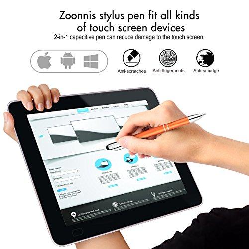 Zoonnis Eingabestift, 8 Stück 2 in 1 Universal kapazitive Stylus Stifte für Touch Screens Gerte, Hochempfindlich Stift für Apple iPad iPhone Tablets Kindle Samsung Galaxy,Kugelschreiber(8xMischfarbe)