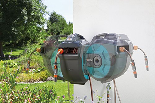 GARDENA Wand-Schlauchbox 35 roll-up automatic Li: Automatische Schlauchtrommel zur Wandmontage, Einzug über Akku per Tastendruck, 180 Grad schwenkbar, Schlauchlänge 35 m (8025-20) - 5