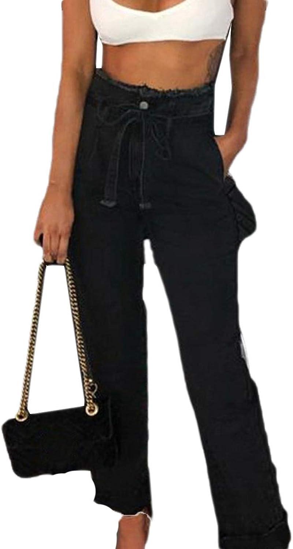 Gfsoediden High Waist Belt Pencil Denim Jeans Women Ankle Length Pants