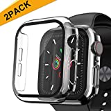 [2 Pack] Watch Case Compatible With Apple Watch Series 6/SE/5/4 40mm with Tempered Glass Screen Protector, EWUONU Slim Thin Bumper Full Coverage Protective Watch Cover for iwatch Accessories