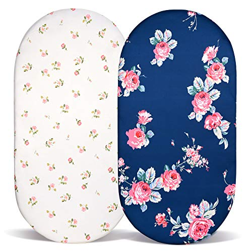 Momcozy Floral Waterproof Bassinet Sheets 2 Pack, Ultra Soft Jersey Knit Fitted Crib Sheets Fitted for 74x28cm/67x30cm/65x28cm/80x46cm Bassinet Pad/Mattress Like Halo, MiClassic, Chicco Lullago etc
