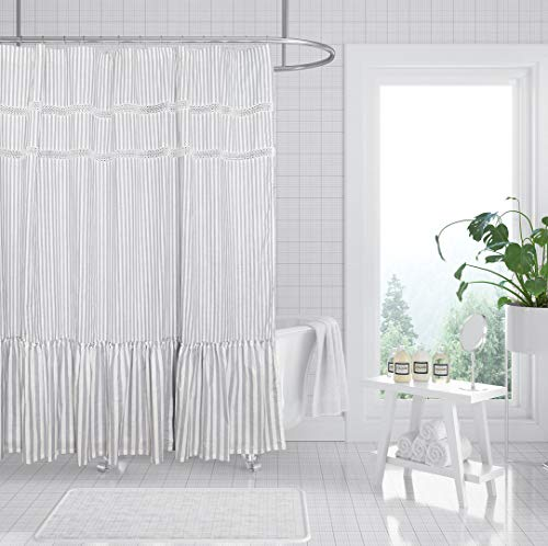 Fabric Shower Curtain, Eastern Heavy Duty Cotton Bathroom Shower Curtains with Lace Trims and Ruffled Bottom, for Spa, Hotel Luxury, Stripe Decorative Shower Curtains 72 x 72 Inches White Gray