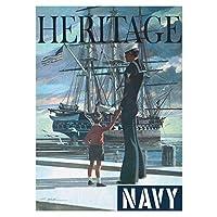 Suuyar アメリカ海軍Uss憲法オールドアイアンサイドヘリテージリクルートウォールアートポスターとプリントリビングルーム用キャンバスにプリント-20X28インチX1フレームレス