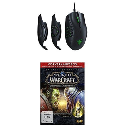 Razer Naga Trinity MOBA/MMO-Gaming-Maus (Drei austauschbare Seitenteile, Optischer 5G-Sensor mit Echten 16.000 DPI) + World of Warcraft: Battle for Azeroth (Add on) - Vorverkaufsbox (Download-Code)