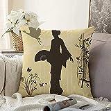 Almohada Decorativa Asiática Oriental Oriente Estilo Bambú Geisha Abanico Grúa Pintura Mano Naturaleza Negro Kimono Mariposa Cuadrado Acogedor Cojín Funda de Almohada para sofá, 18'x18