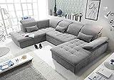 moebel-guenstig24.de Funktionale Couch Wayne Sofa Schlafcouch Bettsofa Schlafsofa Sofabett Wohnlandschaft ausziehbar dunkelgrau Ottomane Links U-Form
