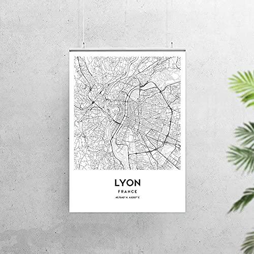MG global Póster de Lyon, diseño de mapa de la ciudad de Francia, mapa de Lyon, decoración de mapas de la calle, N190 sin marco