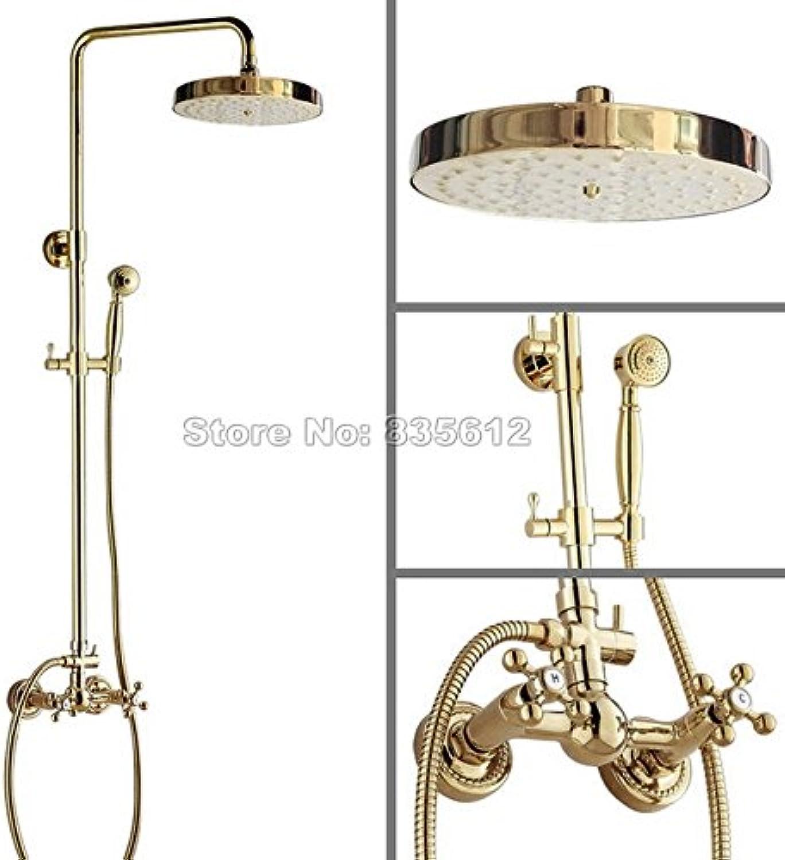 Luxurious shower Badezimmer Luxus Gold Farbe Messing Regendusche Hahn + Wand montiert mit zwei Griffen Mixer mit abnehmbarem Duschkopf Wgf 325, gelb Tippen