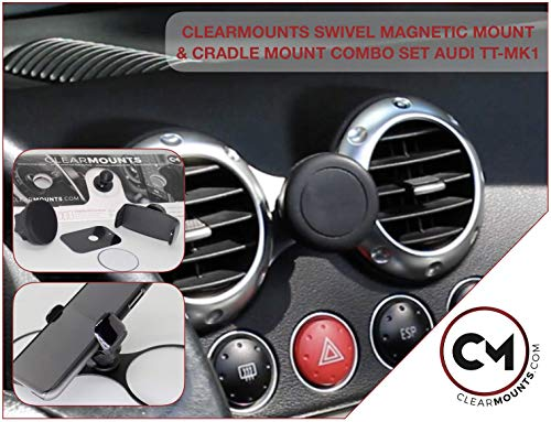 CLEARMOUNTS Audi Phone Holder – Designed for: 2000-2006 Audi TT – 360 Degree Swivel Magnetic Mounts & Cradle Mount Combo