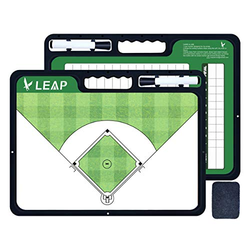 LEAP Baseball Coaches Board Tactical Coaching 2 Sides Premium Dry Erase Tool for Kids, Community, High School Team,Basketball Hcokey