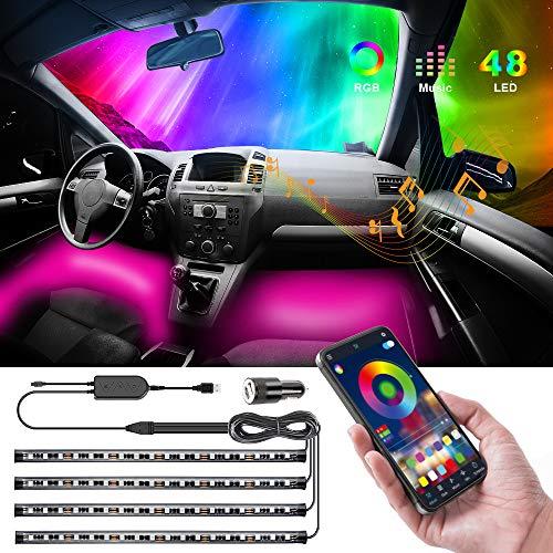Auto-Innenbeleuchtung, Speclux 4pcs 48 LEDs Wasserdichte Mehrfarben-Beleuchtungssätze Bluetooth APP-gesteuerte, verbesserte Autostreifenleuchte mit Musikwechsel-Funkfernbedienung (mit Autoladegerät)