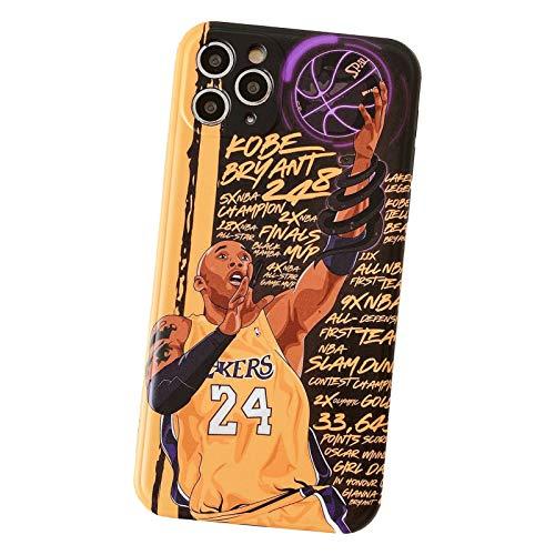 Kobe - Funda para iPhone X/XS, XR, XS Max, 7/8 11 12 Series, ultra protección antiarañazos, funda protectora de TPU para hombres y mujeres Baloncesto F amarillo - 11Pro