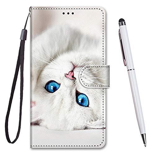 TOUCASA Cover per Nokia 6.3 / G20 / G10,Flip Caso Custodia [Creativo Dipinto] PU Pelle Portafoglio Unico Sottile Funzione TPU Antiurto Flip Cover a Libro per Nokia 6.3 / G20 / G10 (Blue Eyes Cat)