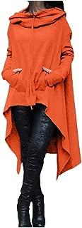 RkYAO Women Overcoat Jackets Long Style Asymmetric Hem Hood Solid Colored Sweatshirts