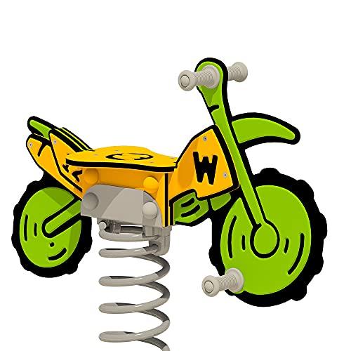 WICKEY Federwippe PRO Motorrad Crossey grun/gelb für öffentliche Spielplätze und Schulen - inklusive Bodenplatte