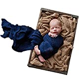 Sunmig Newborn Baby Stretch Wrap Photo Props Wrap-Baby Photography Props (Navy)