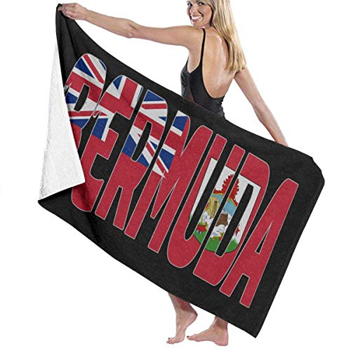 Yuanmeiju Unisex Bermuda Letter Flag Bath Towel Adult Soft Microfiber Printed Toalla de Playas Travel Towel 32x52 Inches