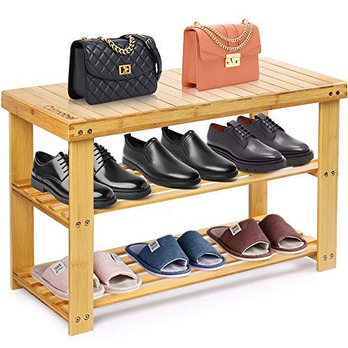 Camabel Estantería para Zapatos de Bambú 3 Niveles 70 x 30 x 43 cm Carga máxima 126kg Organizador Múltifuncional Cambiar Banco de Zapatos Ideal para Entrada Baño Sala de Estar Pasillo
